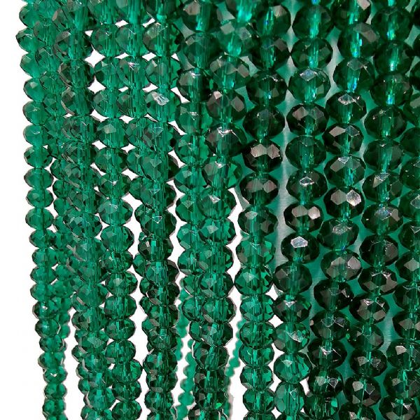 98 pcs x 6mm Glass Faceted Rondelle Emerald Green 024